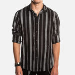 New Mens Casual Striped Long Sleeve Loose Button up Shirts