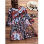 New Women Retro Art Print Pleated Long Sleeve Blouse