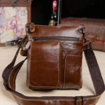 New Men Cowhide Oil Wax Crossbody Bag Casual Business Bag