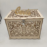 New Wedding Card Box Wooden Money Gift Wishing Well Advice Boxes Decor Lock DIY Wedding Favors