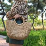 New Women Casual Straw Handbag Woven Plush Ball Beach Bag