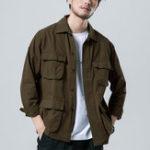 New Men Multi Pockets Turn-down Collar Solid Collar Jacket