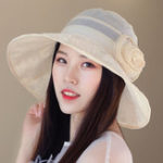 New Women Polyester Floral Transparent Wide Brimmed Bucket Hat