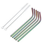 New  8pcs Stainless Steel Colorful Curved Straw Reusable Straw Set with 2 Brushes Storage Box