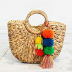 New Straw Hairball Tassel Handbag Travel Beach Bag For Women