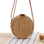New Women Round Woven Straw Crossbody Bag Solid Beach Bag