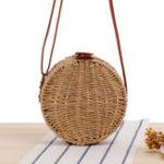 New Women Round Woven Straw Crossbody Bag Solid Beach Bag