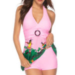 New Pink Split Skirt Halter Printing Swimdress For Women