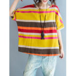 New Casual Stripe O-neck Batwing Sleeve Women Loose T-shirts