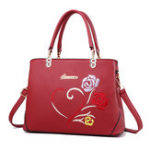 New Women Faux Leather Floral Pattern Handbag Shoulder Bag