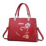 New Women Faux Leather Floral Pattern Handbag Shoulder Bag