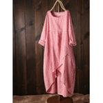 New Women Plaid Irregular Hem Long Sleeve Dress with Pockets