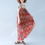 New Sleeveless Straps Swing Hem Boho Maxi Floral Dres