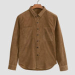 New Men Corduroy Solid Color Dual Pockets Vintage Shirts
