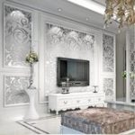 New 3D Silver Victorian Wall Sticker Damask Embossed Rolls Wallpaper Feature Living Room Background Decor