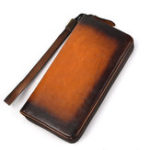 New Men Genuine Leather Long Zipper Phone bag Wallet