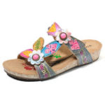 New SOCOFY Hand Floral Genuine Leather Comfy Wedge Sandals