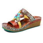 New SOCOFY Genuine Leather Floral Adjustable Wedge Sandals