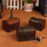 New Vintage Wooden Storage Box Jewelry Ring Trinket Gift Case Holder