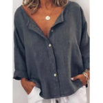 New Women Casual V-neck Long Sleeve Button Solid Color Blouse