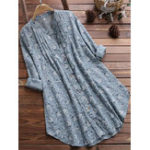 New Vintage Floral Button Stand Collar Irregular Hem Blouse