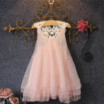 New Girls Children Pearls Lace Stitching Princess Dress