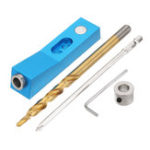 New Aluminum Alloy One-hole Pocket Hole Jig with Magnet and Step Drill Bit Screwdriver Bit 9.5mm Oblique Hole Drill Guide Woodworking Tool