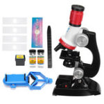 New Kids 100X 400X 1200X Zoom Illuminated Monocular Biological Microscope Red Gifts