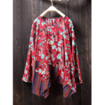 New Floral Print Irregular Hem Blouse