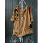 New Women Casual Cotton Crew Neck T-Shirts with Pockets
