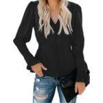 New Women V-Neck Long Sleeve Elastic Waist Button Blouse
