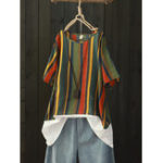 New Women Casual Striped Patchwork Short Sleeve Blouse