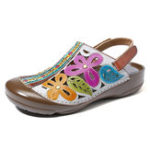 New SOCOFY Hand Floral Hollow Hook Loop Genuine Leather Sandals