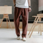 New Mens Linen Pants Chinese Style Solid Color Casual Trousers