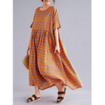 New Casual Loose O-neck Half Sleeve Checked Maxi Dress