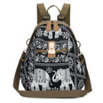New Women Elephant Print Travel Backpack National Shoulder Bag