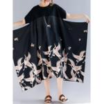 New Women Vintage Printed Short Sleeve Patchwork Baggy Dress