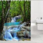 New 2×1.8CM Polyester 3D Waterfall Nature Scenery Bathroom Shower Curtain With Hooks