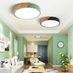 New 18W Ultra-thin Ceiling Light Colorful Round Acrylic LED Wood Room Ceiling Lamp
