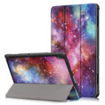 New Tri-Fold Printing Tablet Case Cover for Lenovo Tab E10 Tablet – Milky Way galaxy
