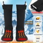 New 3.7V 4500MAH Double-Layer Electric Heated Heating Socks Heated Instep Toe  Socks Rechargable Battery Foot Warmer Boot Stockings