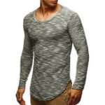 New Mens Vintage Crew Neck Long Sleeve Casual T-shirts