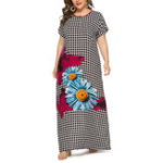 New Women Floral Print Plaid O-neck Short Sleeve Maxi Dress