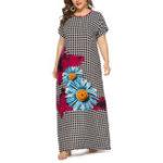 New Women Floral Print Plaid O-neck Short Sleeve Maxi Dress