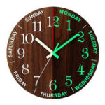 New 12 Inch Luminous Wall Clock Wooden Silent Non-Ticking Clock With Night Light
