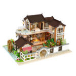 New Hoomeda 13848 DIY Doll House Dream In Ancient Town With Cover Music Movement Gift Decor Toys