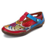 New SOCOFY Hollow Out Floral Hook Loop Leather Sandals