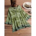 New Vintage Women Loose Lace Patchwork Button Half Sleeve Blouse