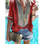 New Women Retro Folk Style V-Neck Short Sleeve Blouse