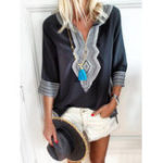 New Vintage Women Folk Style V-Neck 3/4 Sleeve Blouse
